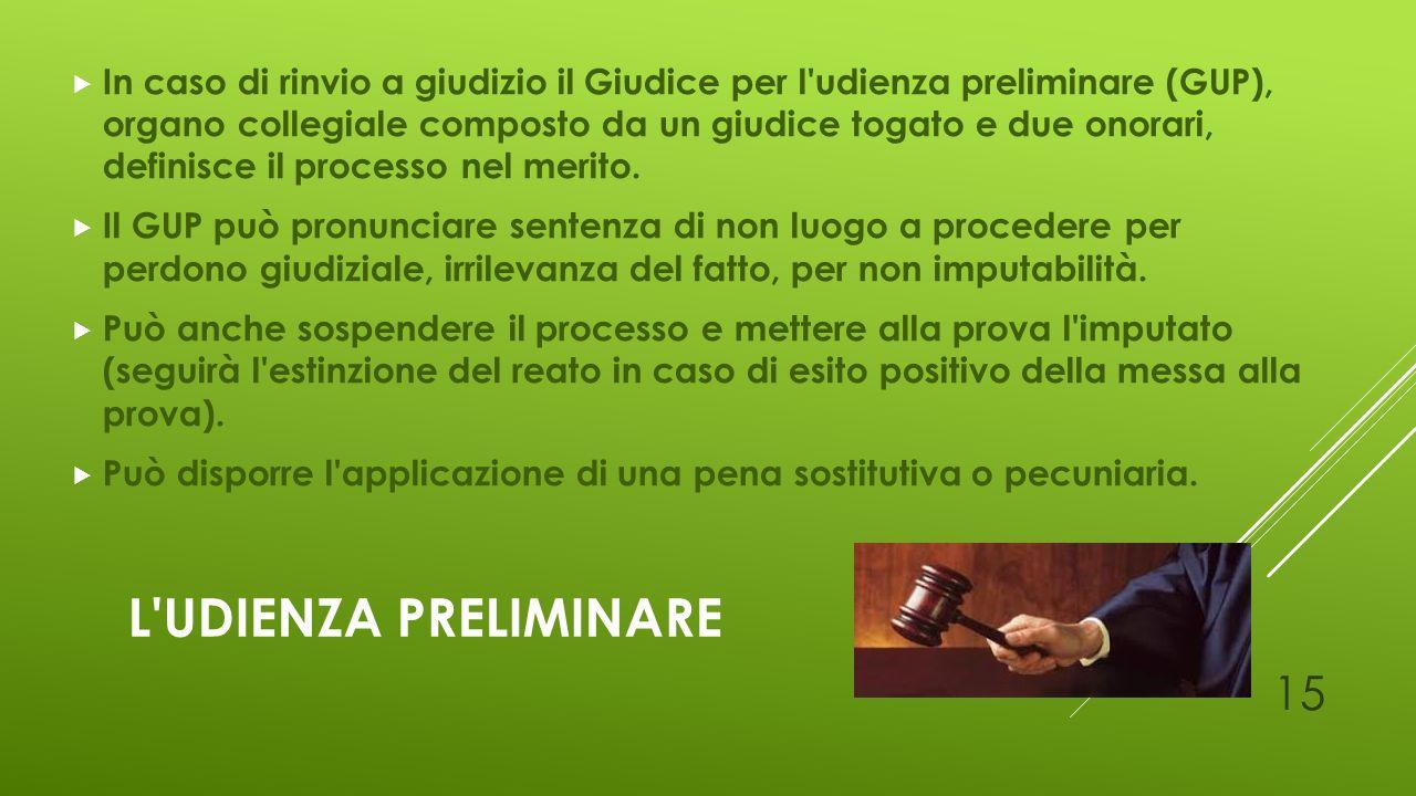 In caso di rinvio a giudizio il Giudice per l udienza preliminare (GUP), organo collegiale composto da un giudice togato e due onorari, definisce il processo nel merito.