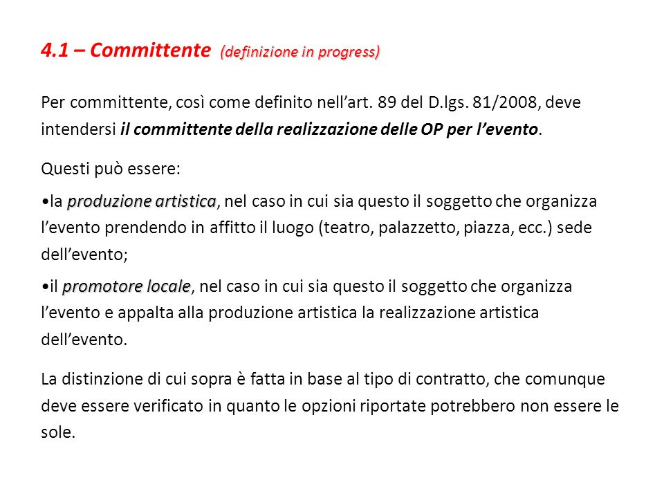 4.1 – Committente (definizione in progress)