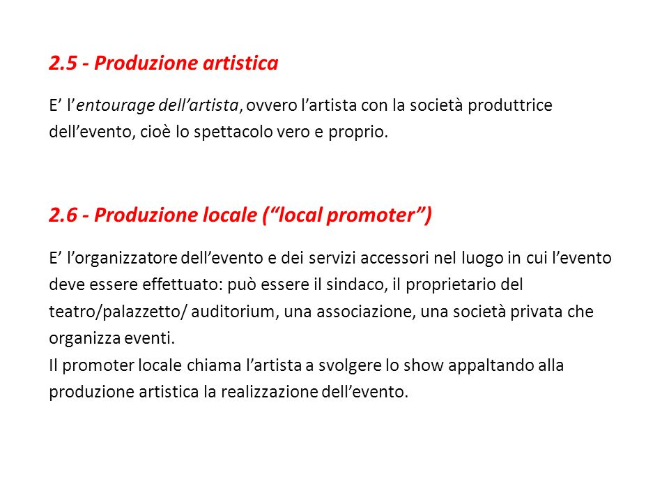 2.5 - Produzione artistica