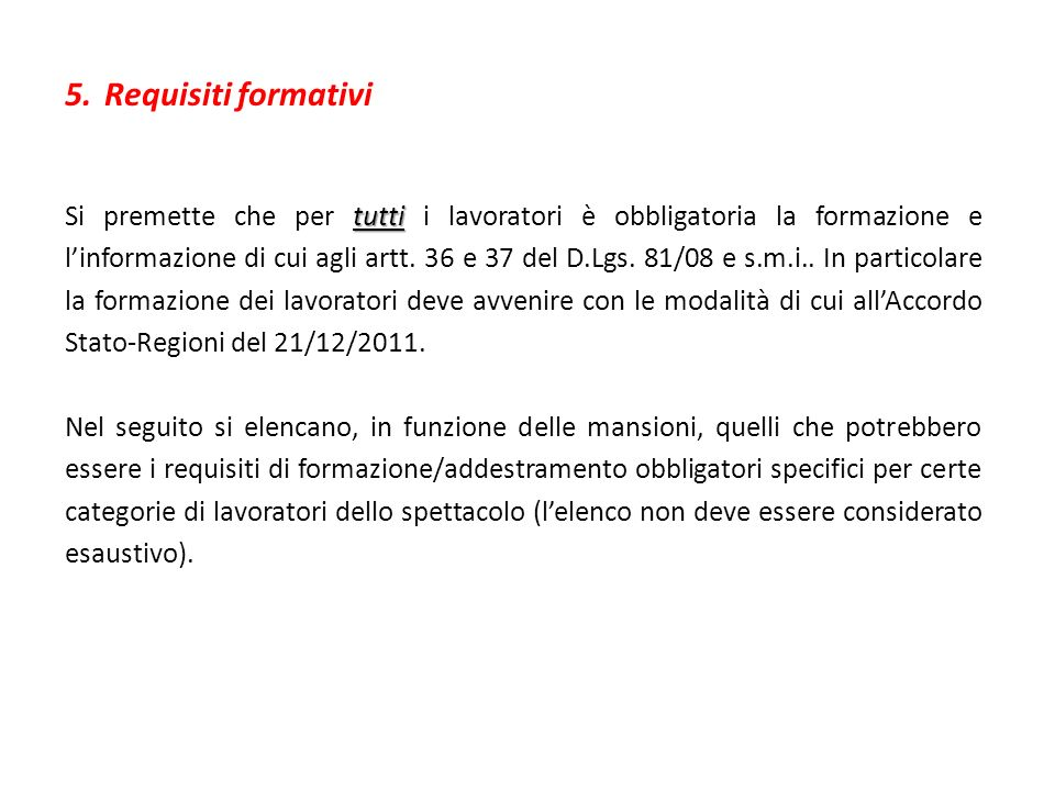 Requisiti formativi