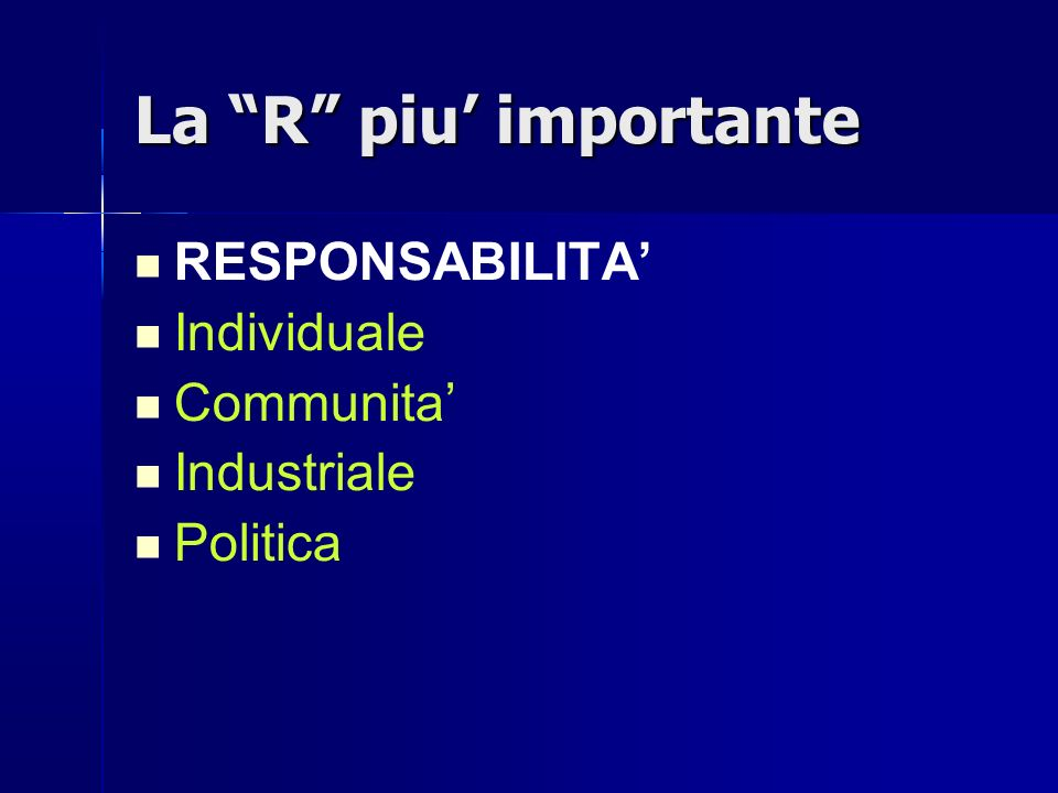 La R piu' importante RESPONSABILITA' Individuale Communita'