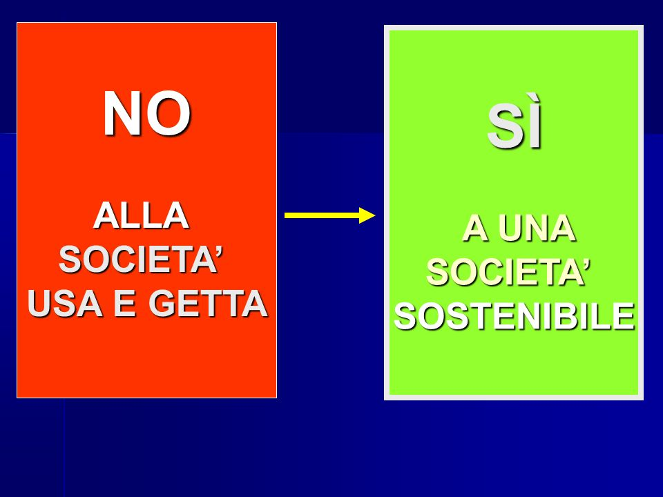 NO SÌ ALLA A UNA SOCIETA' SOCIETA' USA E GETTA SOSTENIBILE