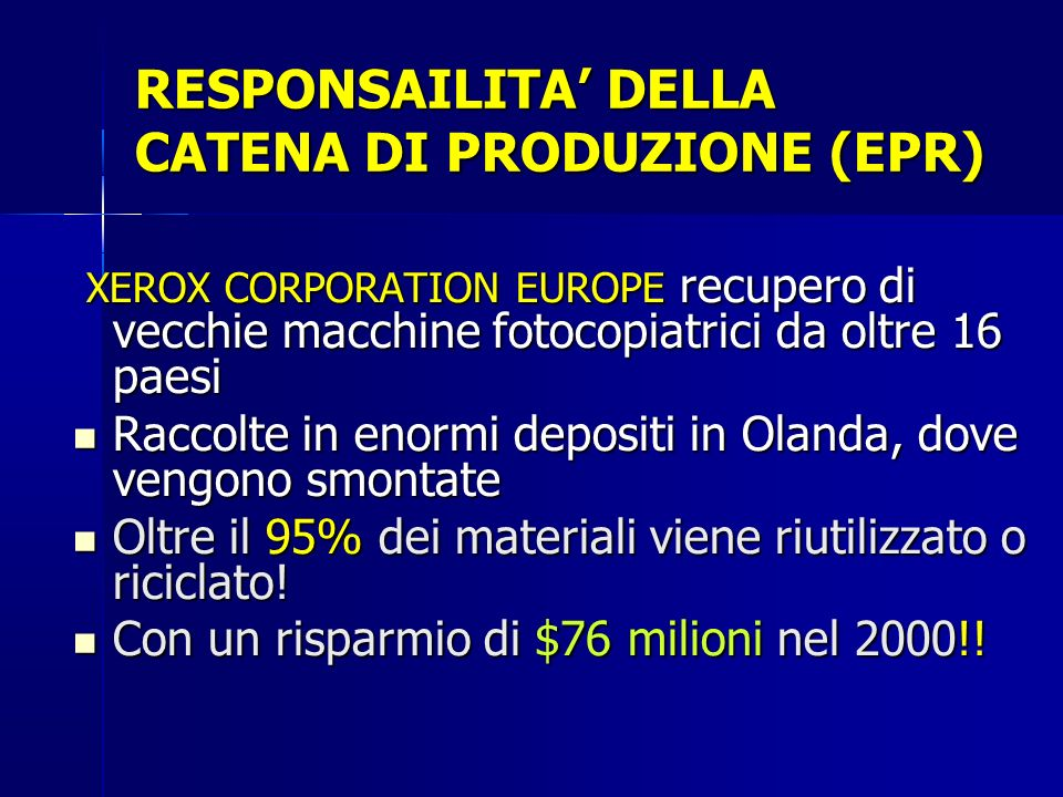 RESPONSAILITA' DELLA CATENA DI PRODUZIONE (EPR)
