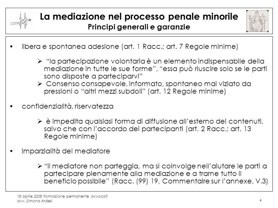 La mediazione nel processo penale minorile Principi generali e garanzie