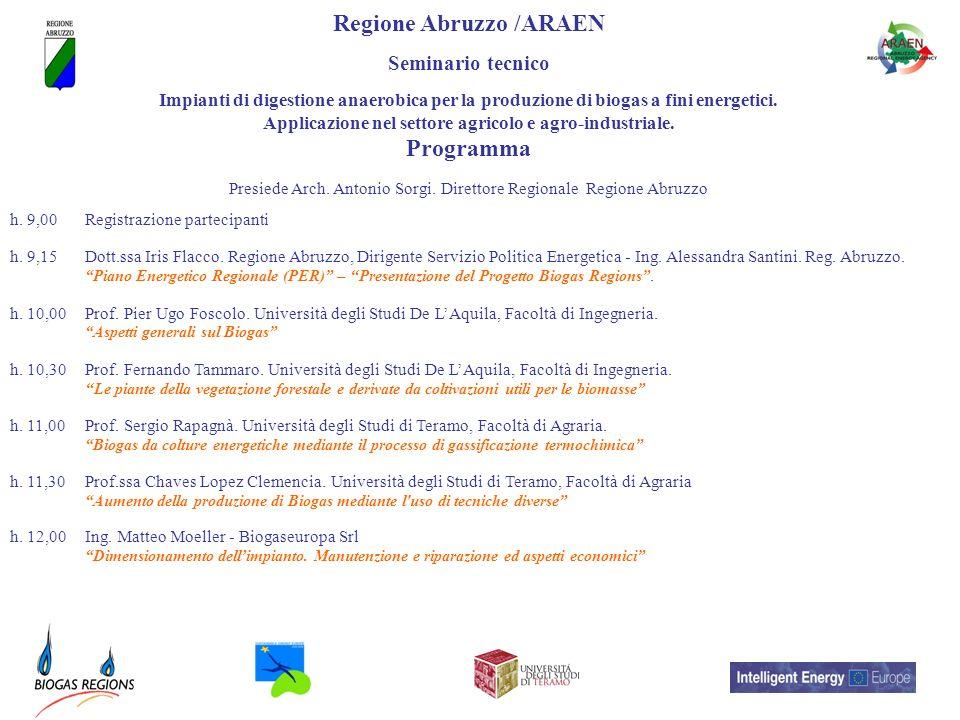 Regione Abruzzo /ARAEN Programma