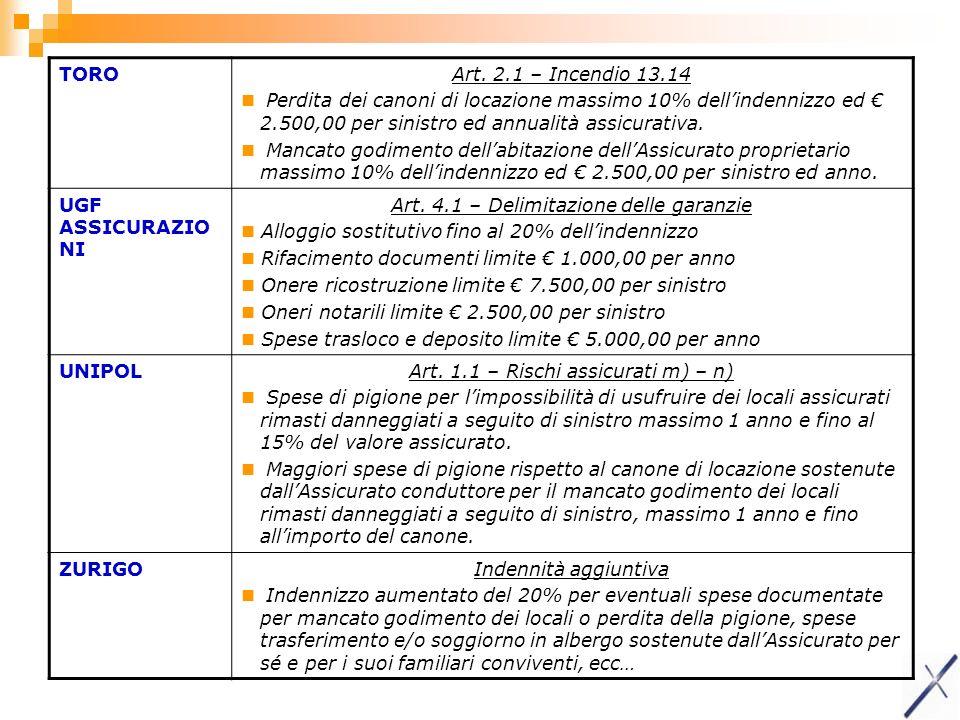Art. 4.1 – Delimitazione delle garanzie