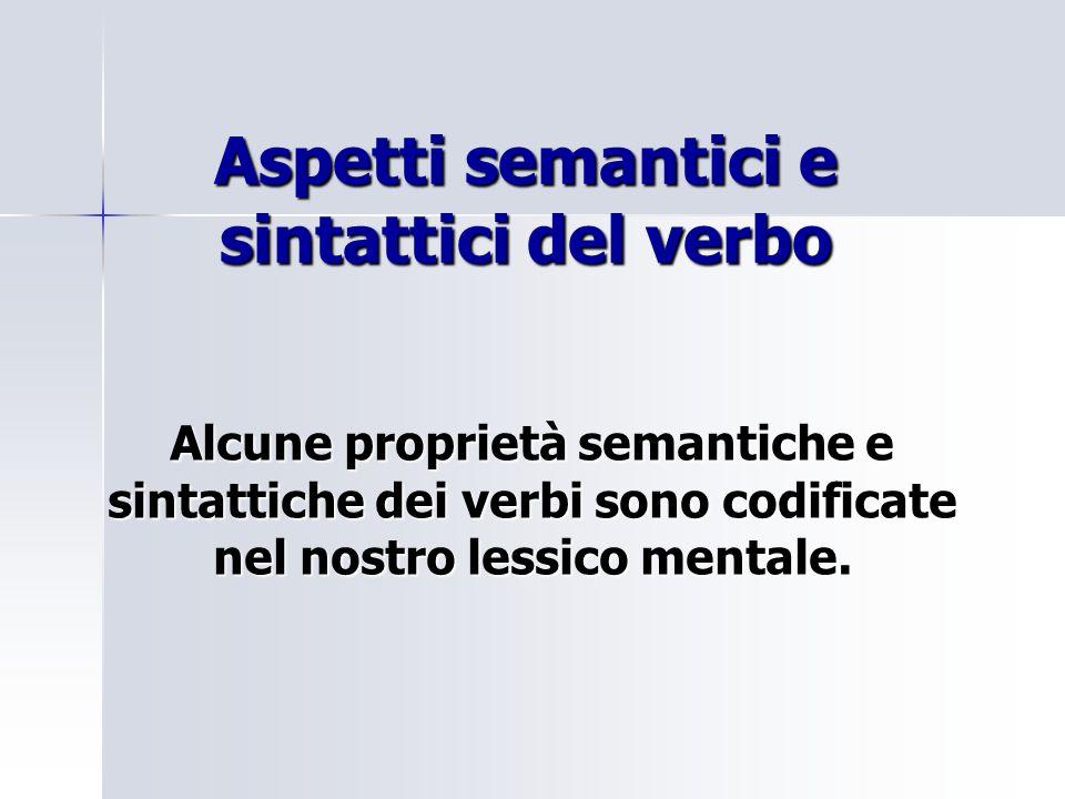 Aspetti semantici e sintattici del verbo