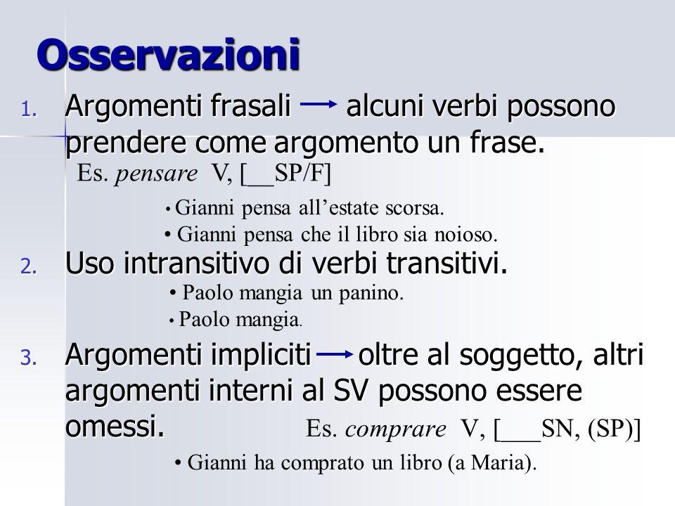 Osservazioni Argomenti frasali alcuni verbi possono prendere come argomento un frase. Uso intransitivo di verbi transitivi.