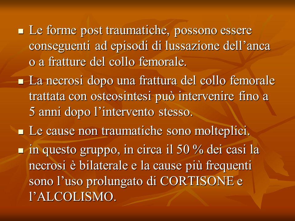 Le forme post traumatiche, possono essere conseguenti ad episodi di lussazione dell'anca o a fratture del collo femorale.