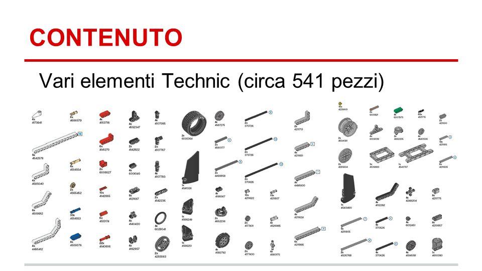 CONTENUTO Vari elementi Technic (circa 541 pezzi)