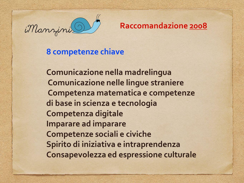 Raccomandazione 2008 8 competenze chiave. Comunicazione nella madrelingua. Comunicazione nelle lingue straniere.