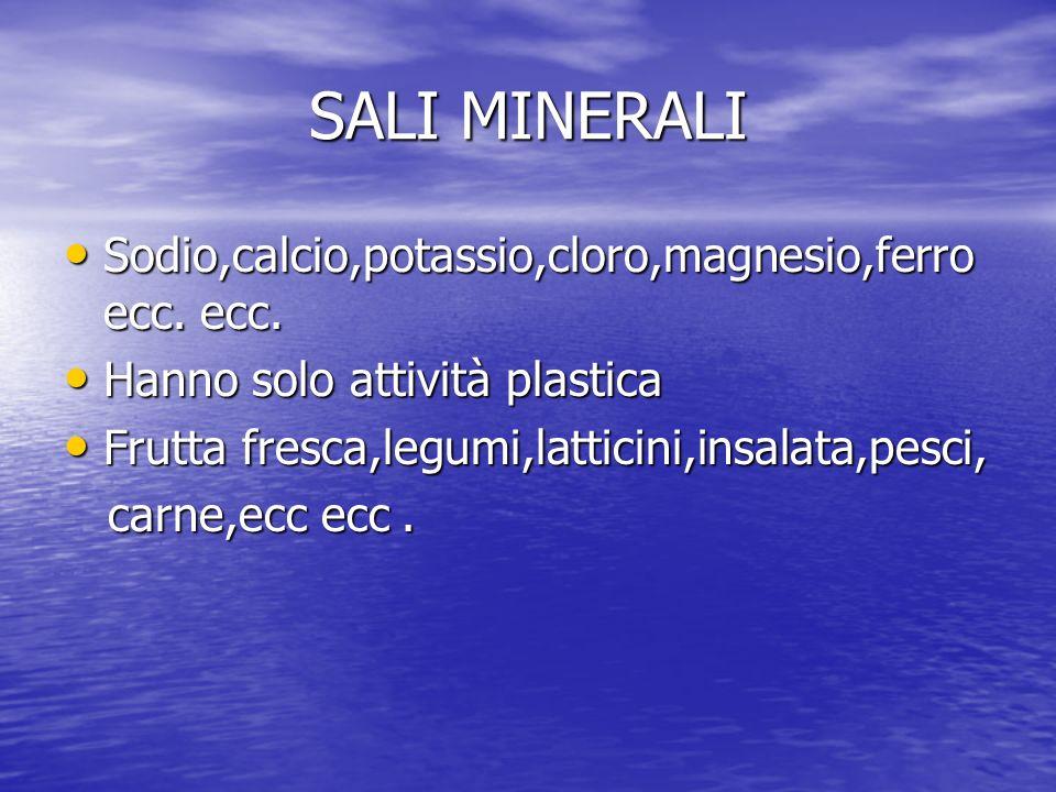 SALI MINERALI Sodio,calcio,potassio,cloro,magnesio,ferro ecc. ecc.