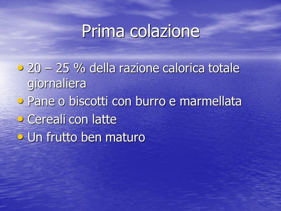 Prima colazione 20 – 25 % della razione calorica totale giornaliera
