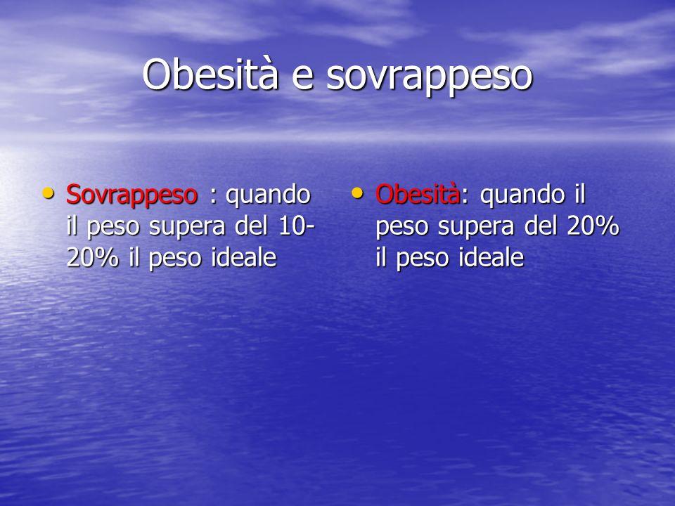 Obesità e sovrappeso Sovrappeso : quando il peso supera del 10-20% il peso ideale.