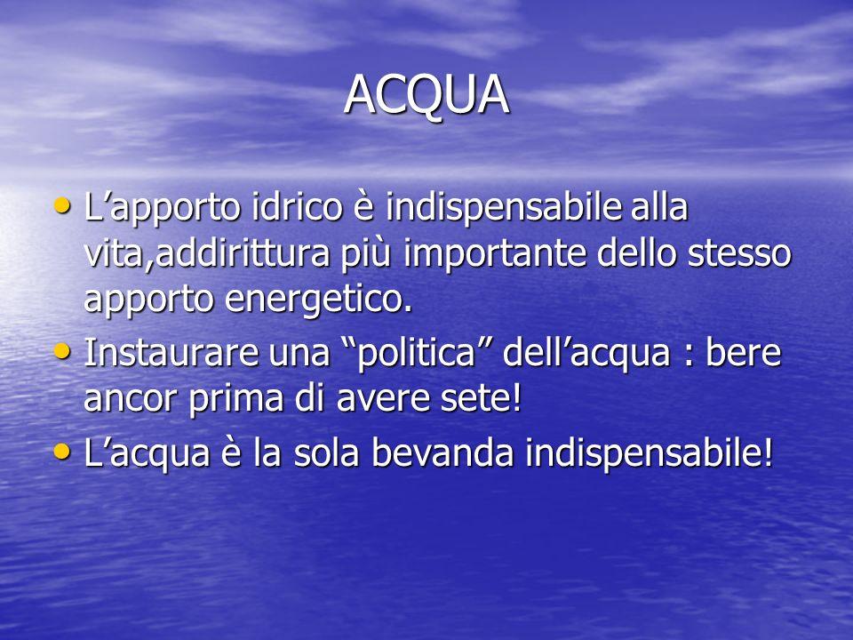 ACQUA L'apporto idrico è indispensabile alla vita,addirittura più importante dello stesso apporto energetico.