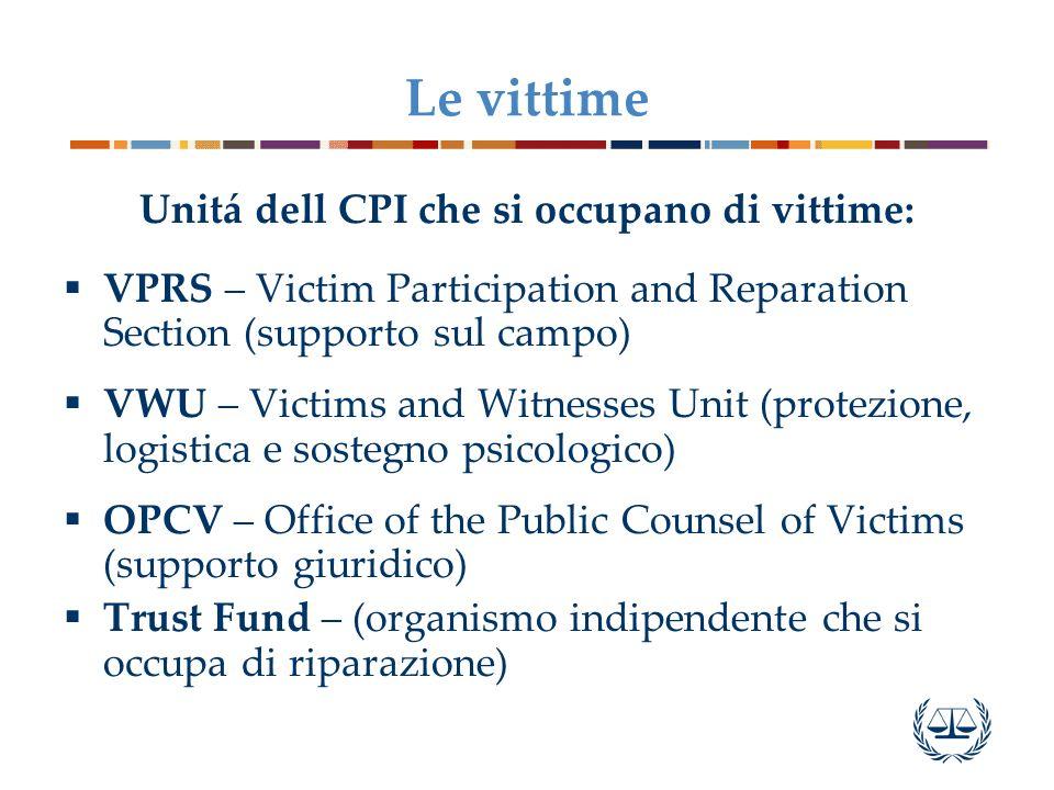 Unitá dell CPI che si occupano di vittime: