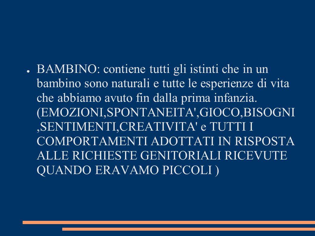 BAMBINO: contiene tutti gli istinti che in un bambino sono naturali e tutte le esperienze di vita che abbiamo avuto fin dalla prima infanzia.