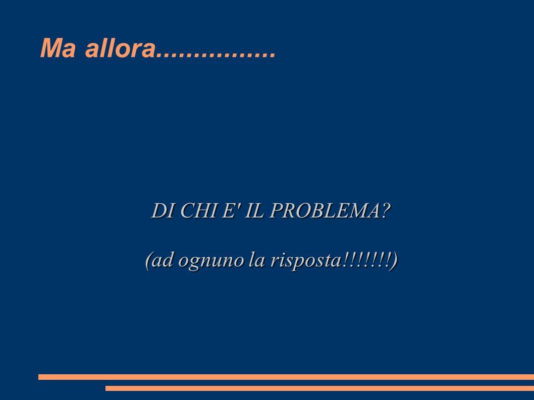 DI CHI E IL PROBLEMA (ad ognuno la risposta!!!!!!!)