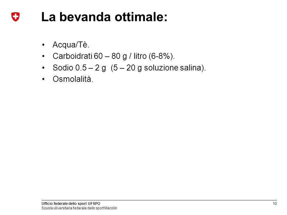 La bevanda ottimale: Acqua/Tè. Carboidrati 60 – 80 g / litro (6-8%).