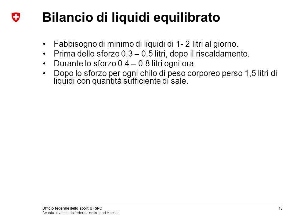 Bilancio di liquidi equilibrato