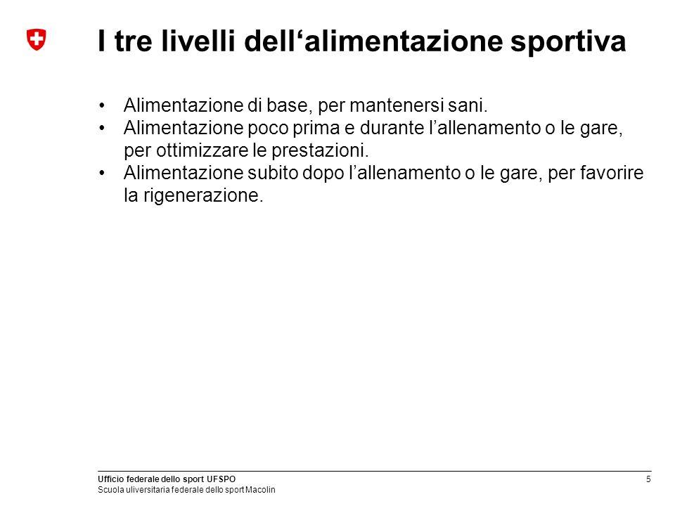 I tre livelli dell'alimentazione sportiva