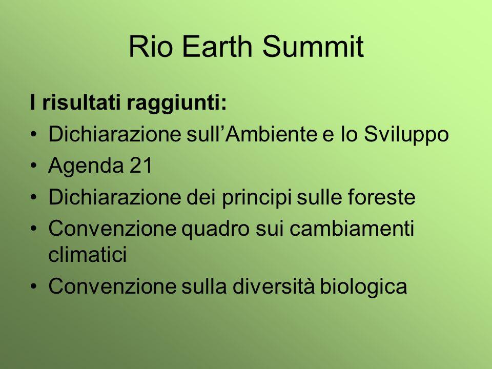 Rio Earth Summit I risultati raggiunti: