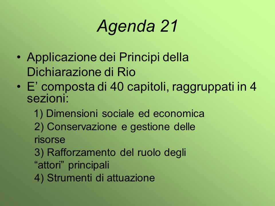 Agenda 21 Applicazione dei Principi della Dichiarazione di Rio