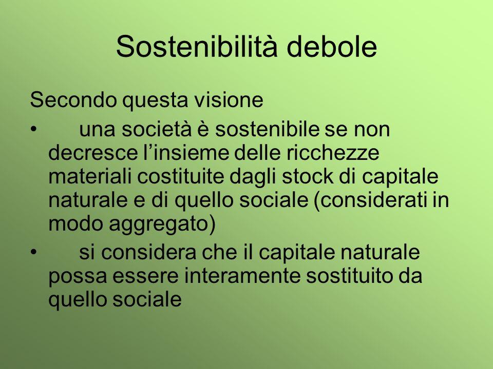 Sostenibilità debole Secondo questa visione