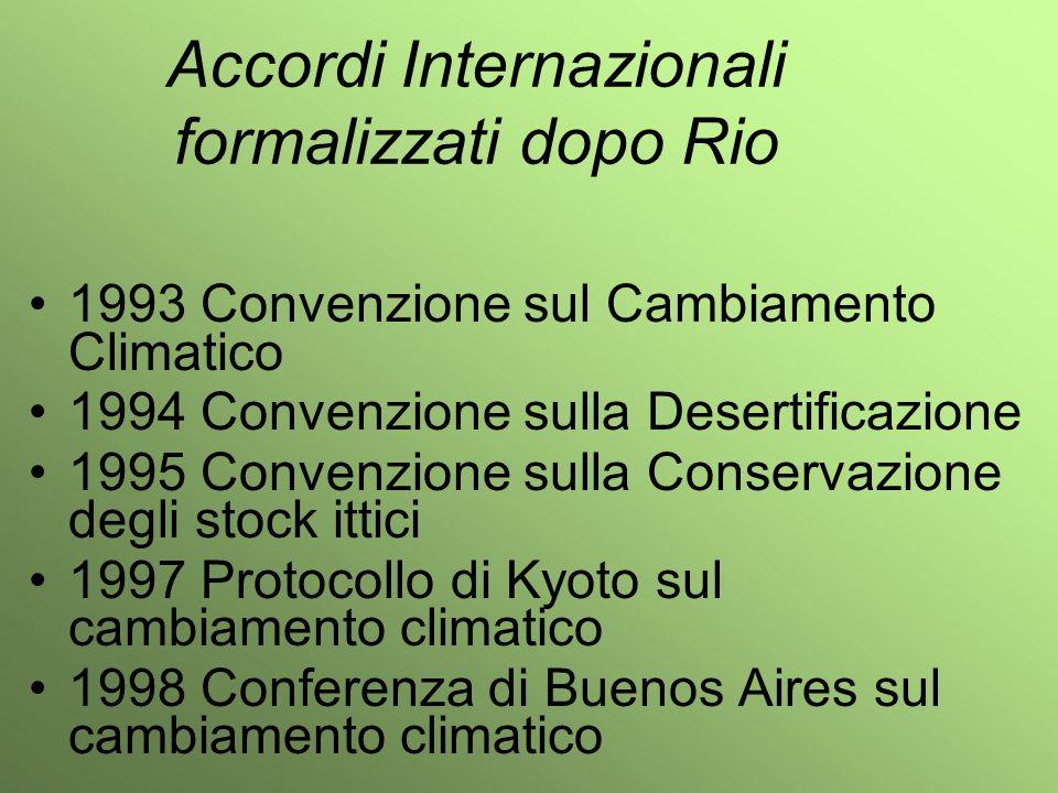 Accordi Internazionali formalizzati dopo Rio