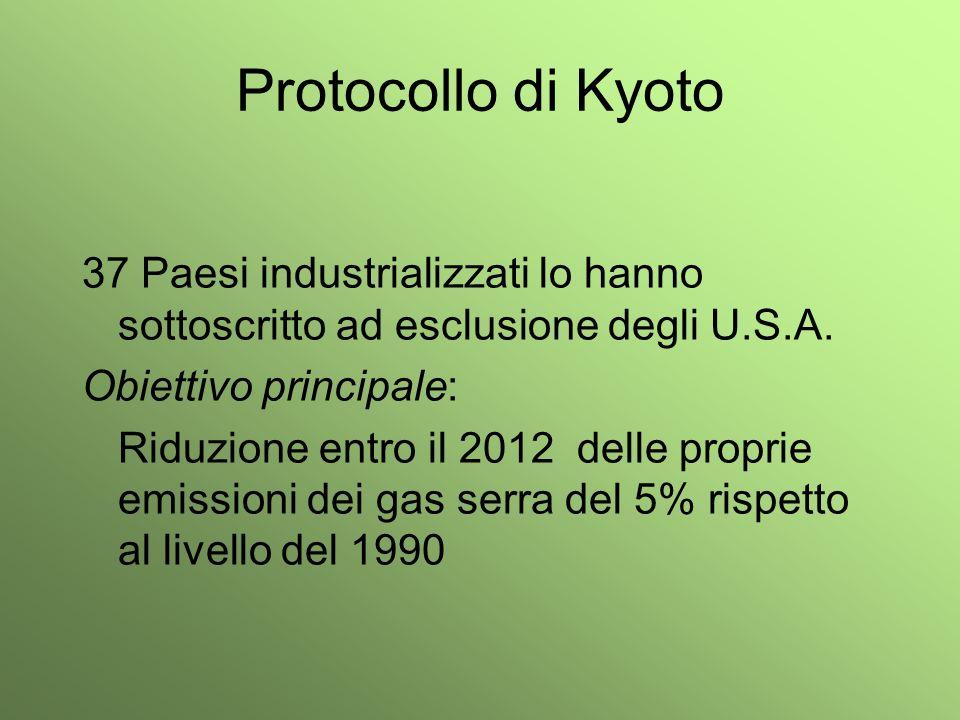 Protocollo di Kyoto 37 Paesi industrializzati lo hanno sottoscritto ad esclusione degli U.S.A. Obiettivo principale: