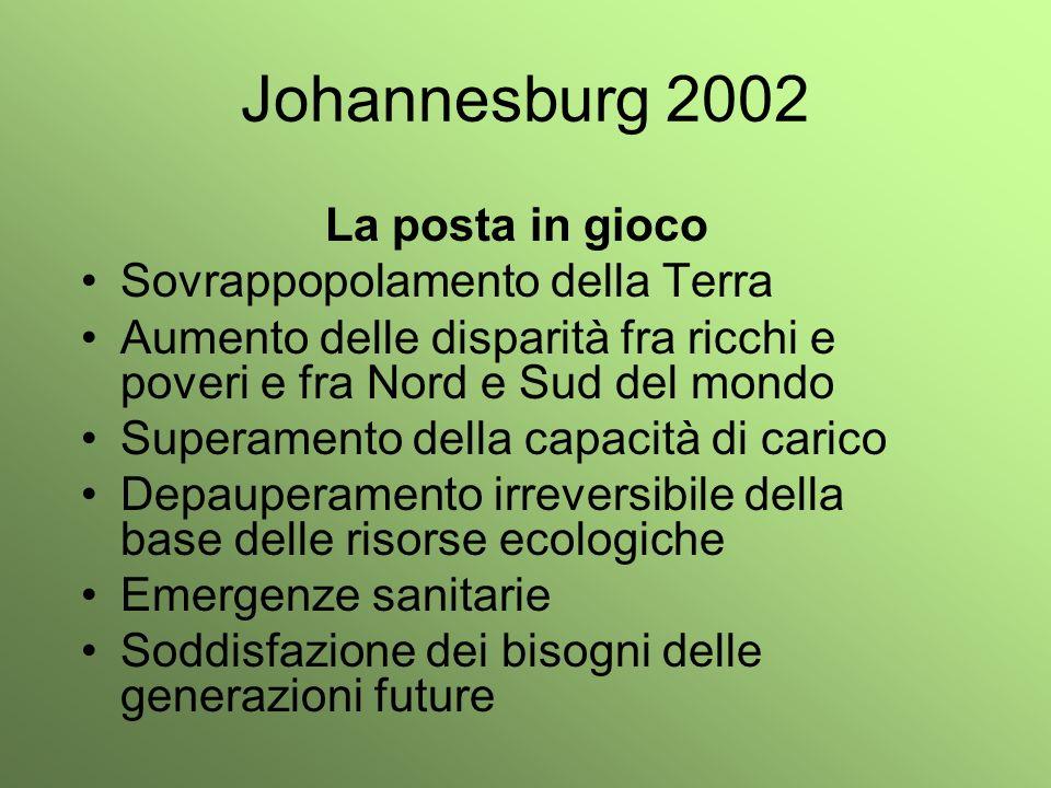 Johannesburg 2002 La posta in gioco Sovrappopolamento della Terra
