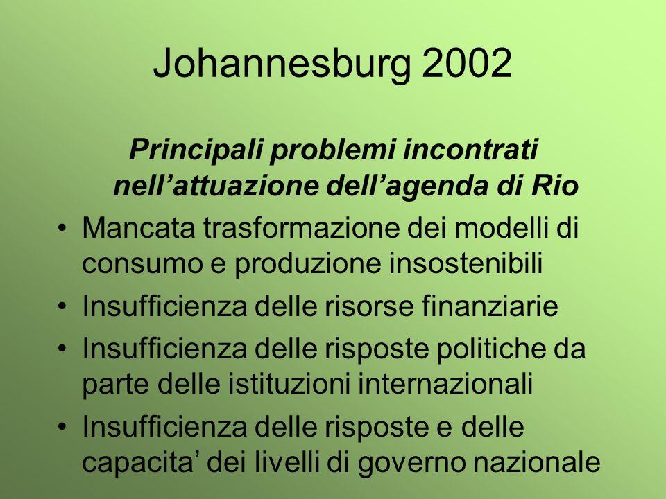 Principali problemi incontrati nell'attuazione dell'agenda di Rio