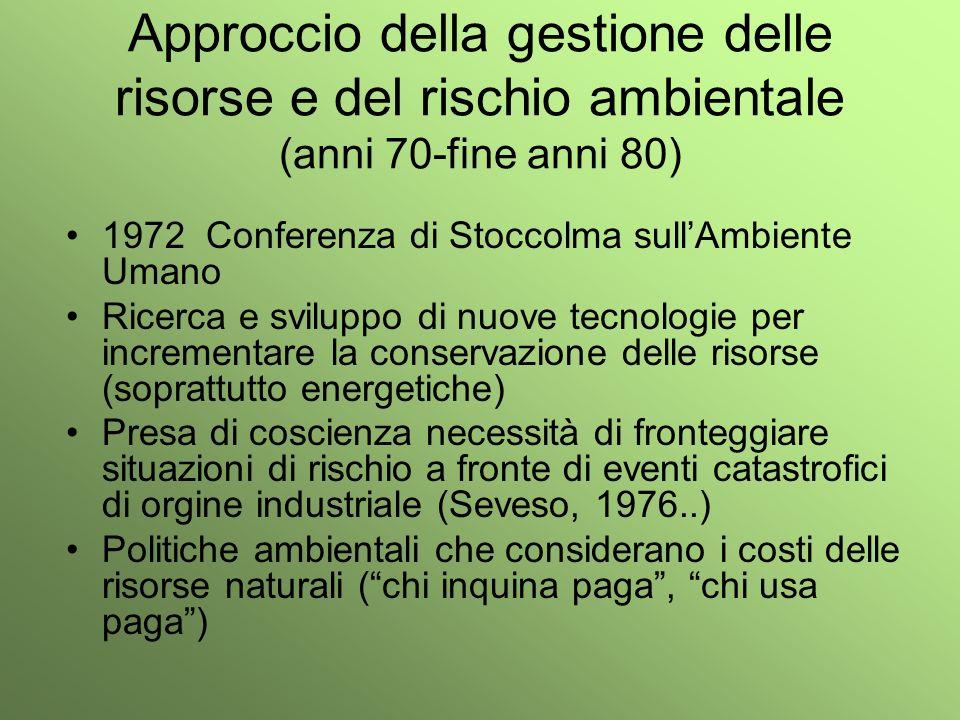 Approccio della gestione delle risorse e del rischio ambientale (anni 70-fine anni 80)