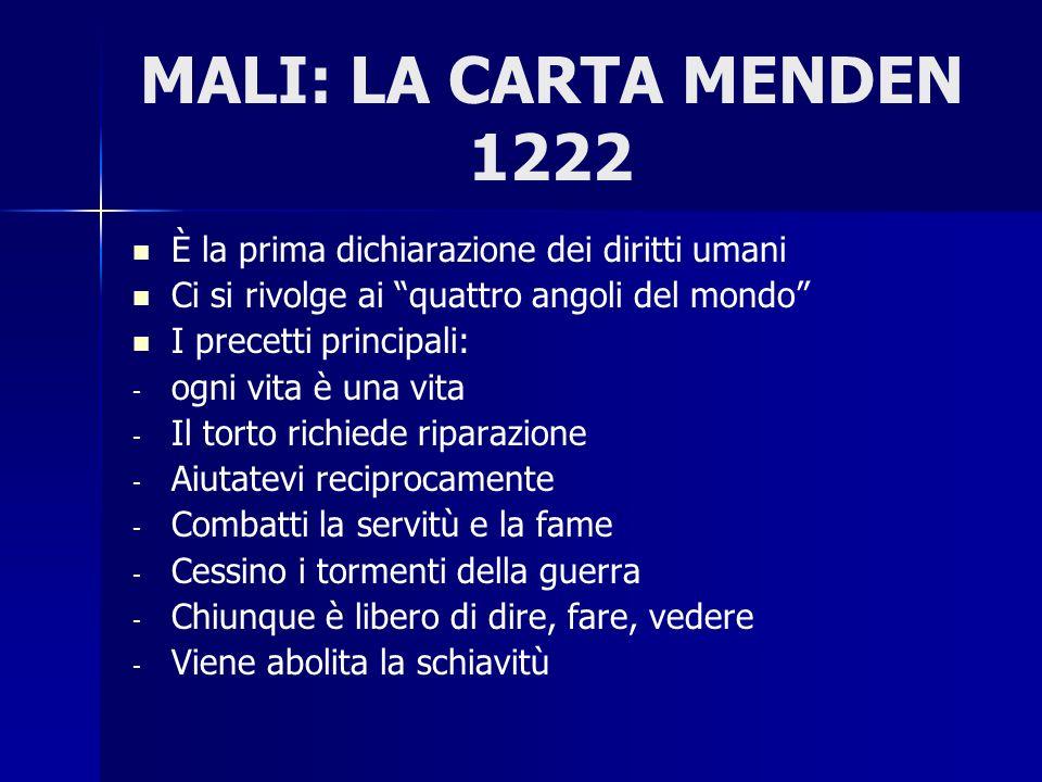 MALI: LA CARTA MENDEN 1222 È la prima dichiarazione dei diritti umani