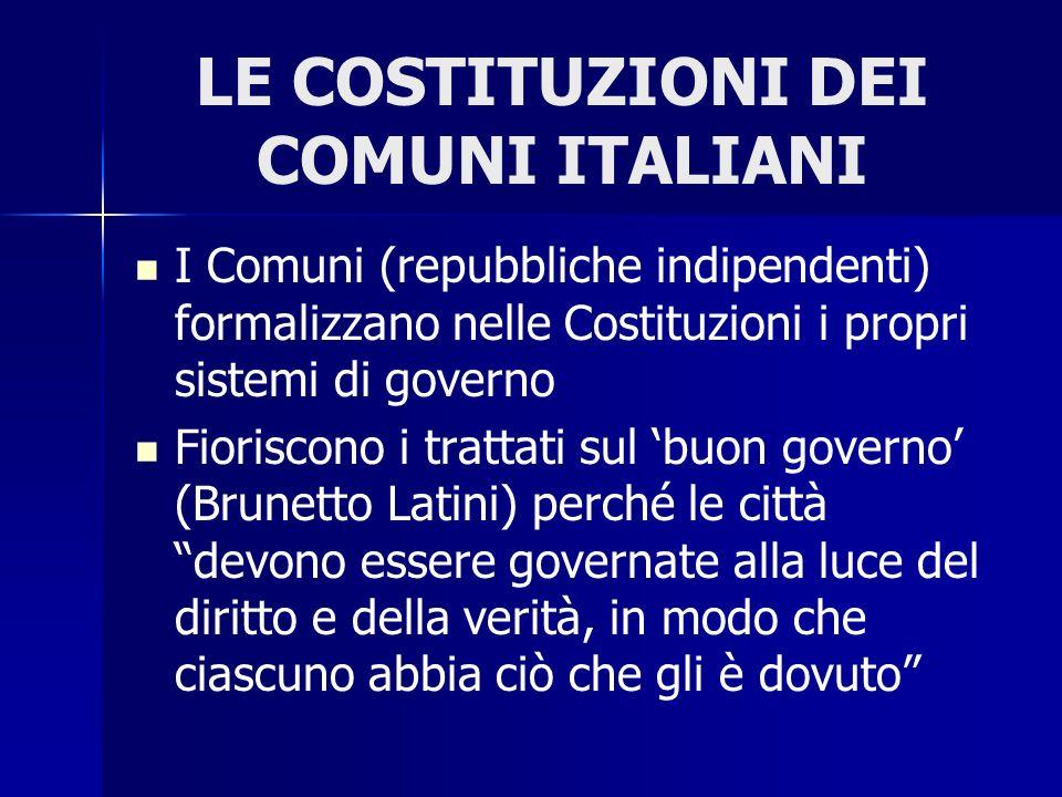 LE COSTITUZIONI DEI COMUNI ITALIANI