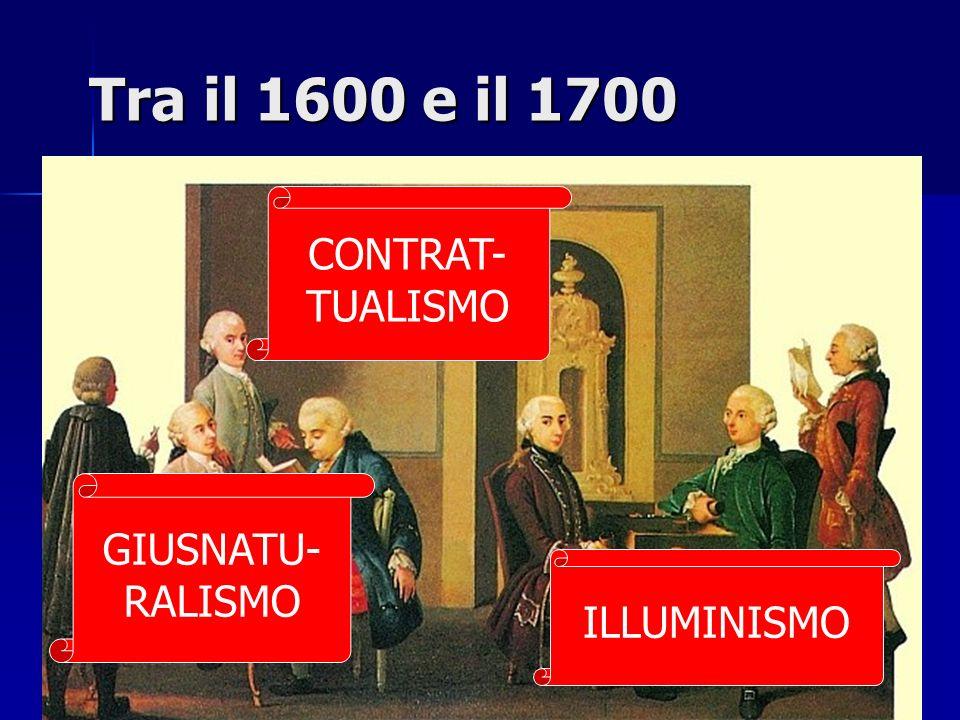 Tra il 1600 e il 1700 CONTRAT- TUALISMO GIUSNATU-RALISMO ILLUMINISMO