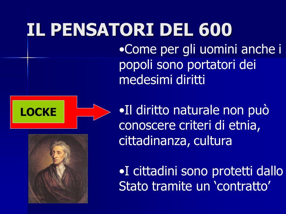 IL PENSATORI DEL 600 Come per gli uomini anche i popoli sono portatori dei medesimi diritti.