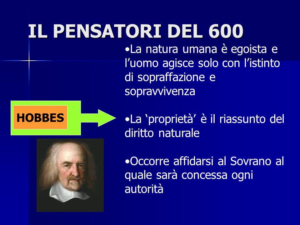 IL PENSATORI DEL 600 La natura umana è egoista e l'uomo agisce solo con l'istinto di sopraffazione e sopravvivenza.