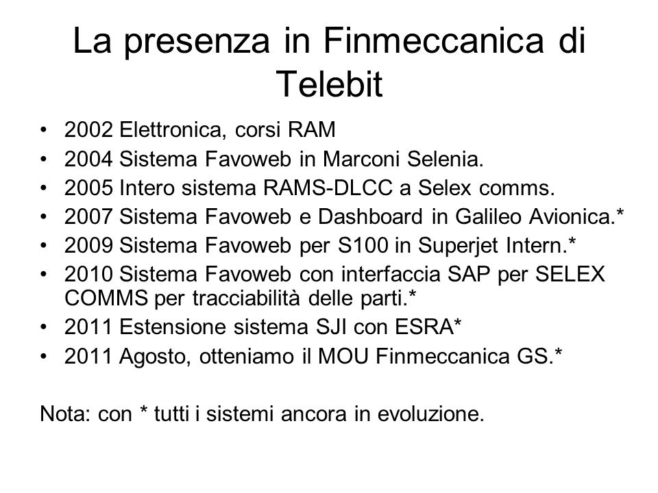 La presenza in Finmeccanica di Telebit