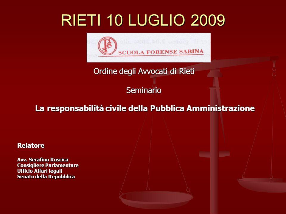 RIETI 10 LUGLIO 2009 Ordine degli Avvocati di Rieti Seminario