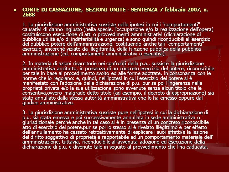 CORTE DI CASSAZIONE, SEZIONI UNITE - SENTENZA 7 febbraio 2007, n