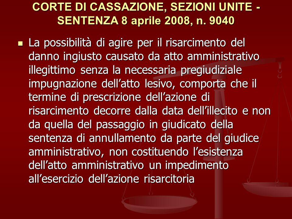 CORTE DI CASSAZIONE, SEZIONI UNITE - SENTENZA 8 aprile 2008, n. 9040