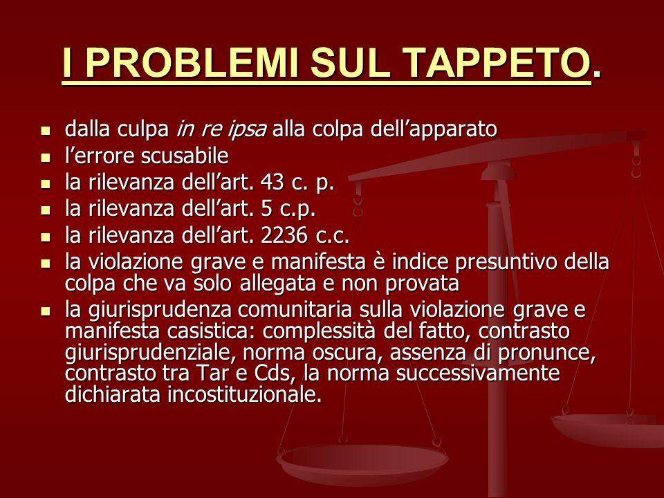 I PROBLEMI SUL TAPPETO. dalla culpa in re ipsa alla colpa dell'apparato. l'errore scusabile. la rilevanza dell'art. 43 c. p.