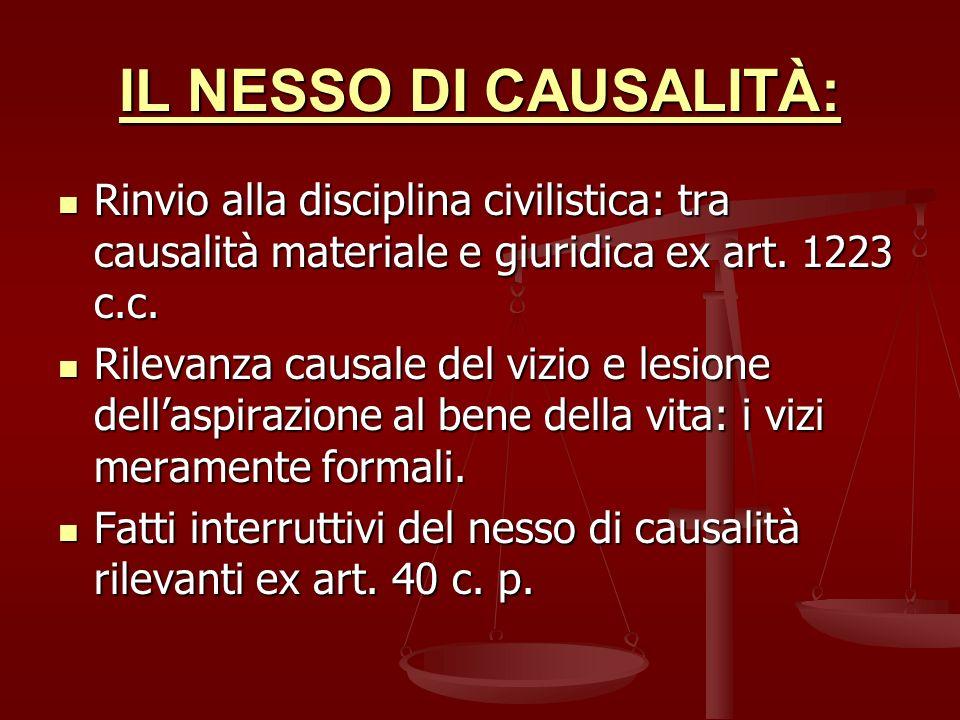 IL NESSO DI CAUSALITÀ: Rinvio alla disciplina civilistica: tra causalità materiale e giuridica ex art. 1223 c.c.