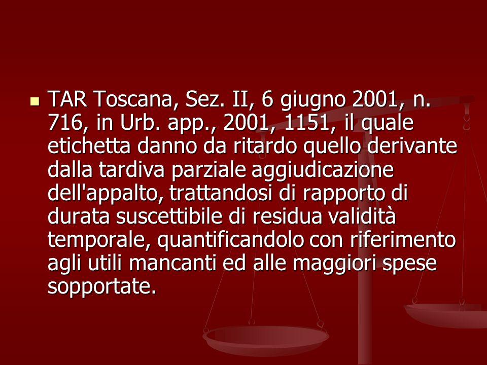 TAR Toscana, Sez. II, 6 giugno 2001, n. 716, in Urb. app