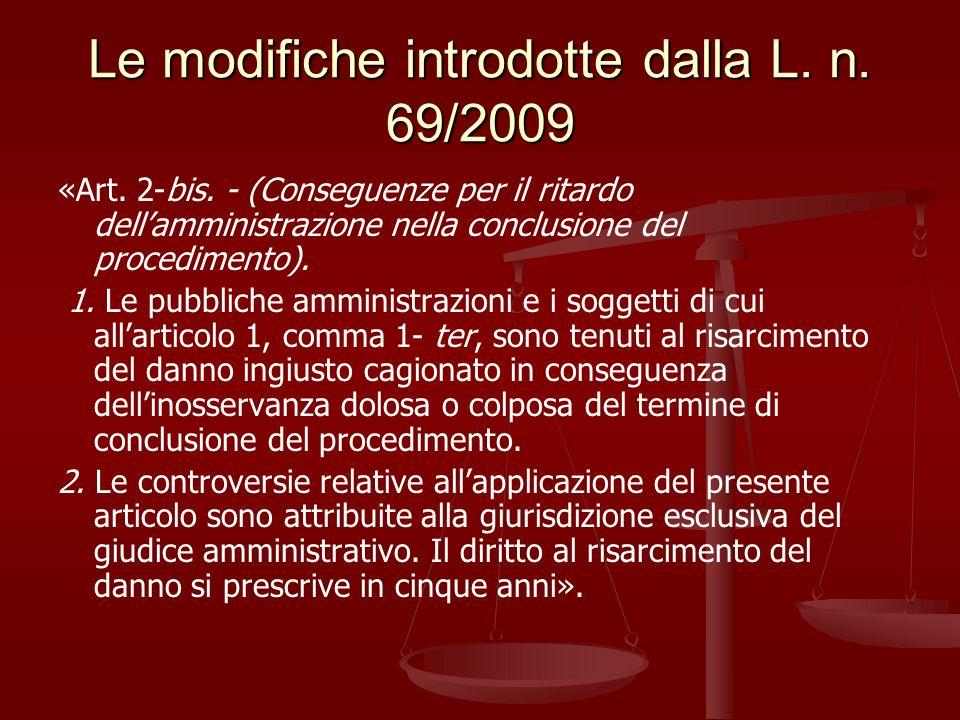 Le modifiche introdotte dalla L. n. 69/2009