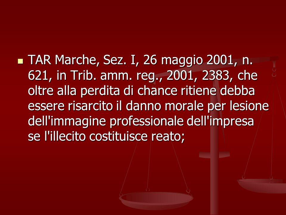 TAR Marche, Sez. I, 26 maggio 2001, n. 621, in Trib. amm. reg