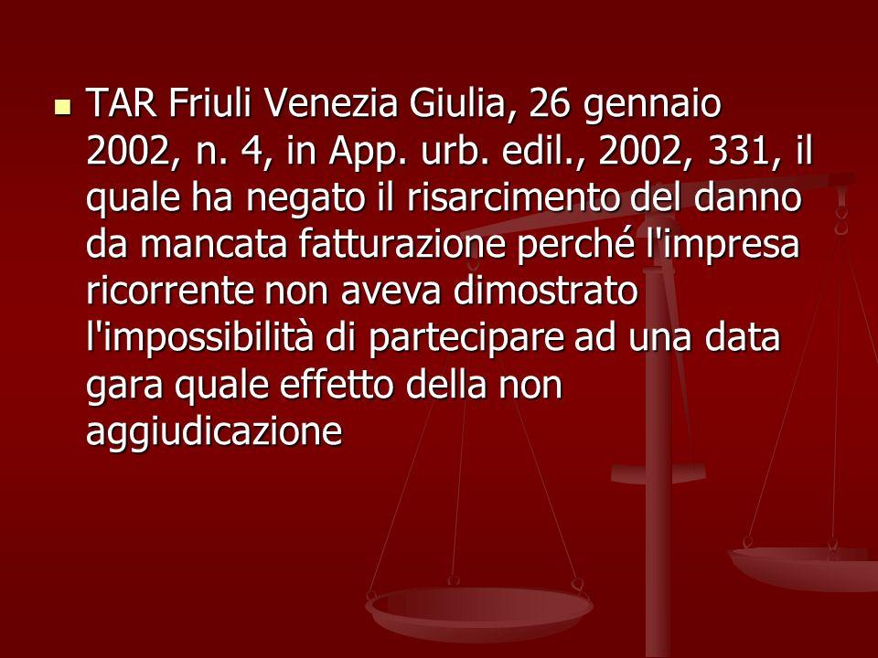 TAR Friuli Venezia Giulia, 26 gennaio 2002, n. 4, in App. urb. edil