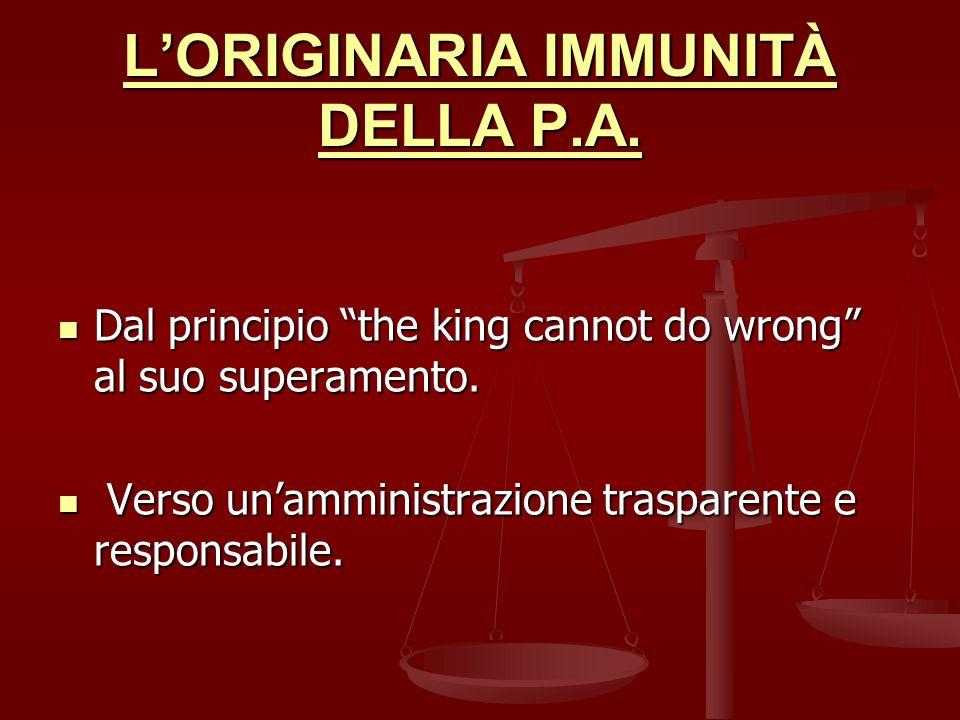 L'ORIGINARIA IMMUNITÀ DELLA P.A.