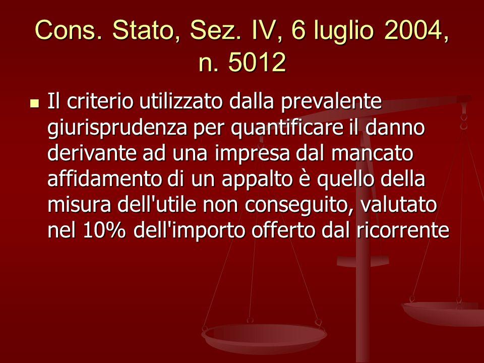 Cons. Stato, Sez. IV, 6 luglio 2004, n. 5012